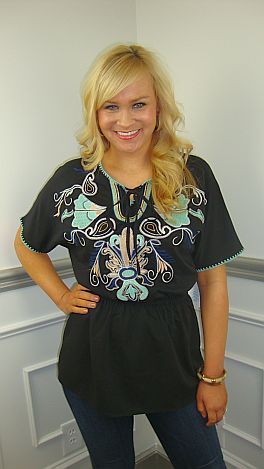 Emily Embroidery Top, Black