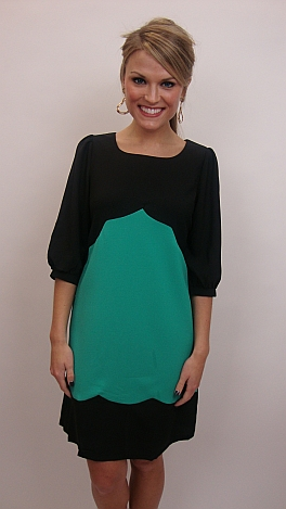Simply Scalloped Dress, Green