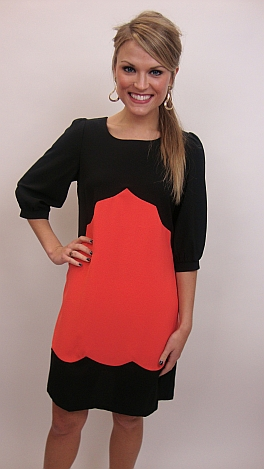 Simply Scalloped Dress, Coral