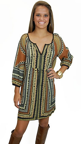 Goodness Gracious Dress, Brown
