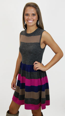 Savannah Sweater Dress, Gray