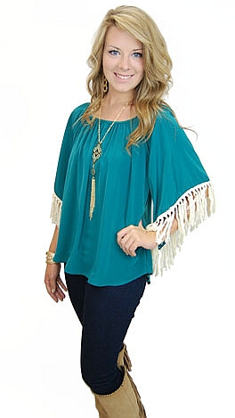 KARLIE Fringe Benefits Top, Teal