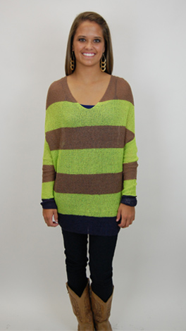 Slouchy Stripes Sweater, Lime