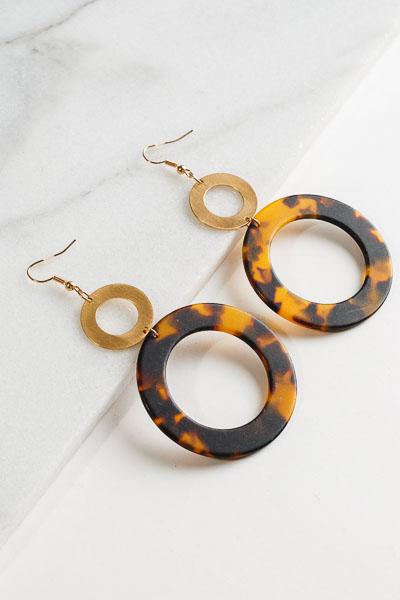 Acrylic Ring Earrings, Brown