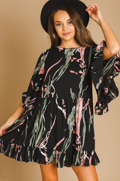 Electric Feeling Dress, Black Floral