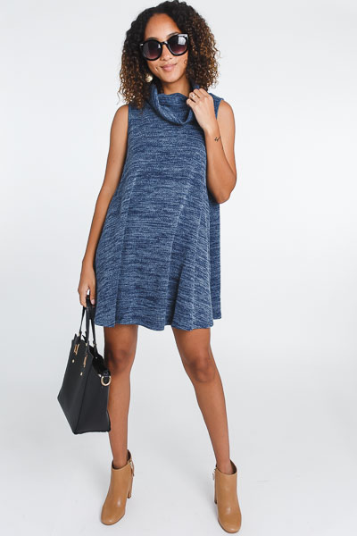 Cowl Sweater Dress, Blue