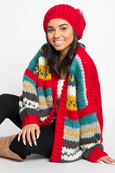 Chunky Knit Cardi, Red Multi