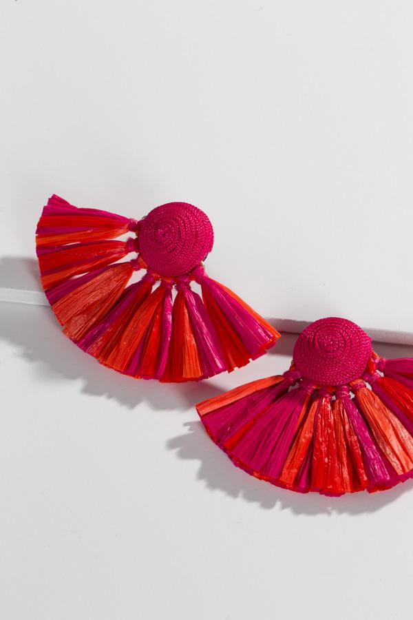 Raffia Fan Earrings, Pink