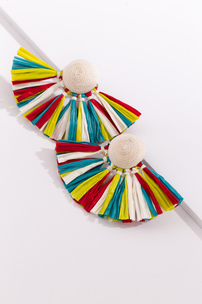 Raffia Fan Earrings, White