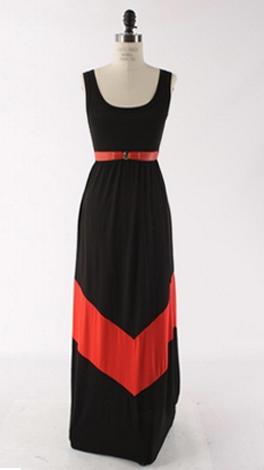Chevron Stripe Maxi, Black
