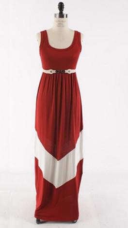 Chevron Stripe Maxi, Crimson