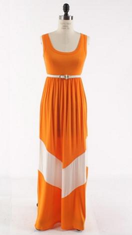 Chevron Stripe Maxi, Orange