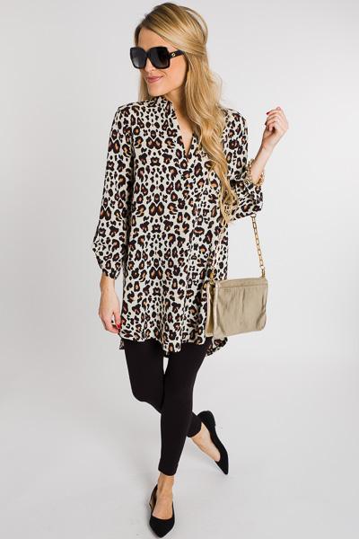 Crepe Leopard Tunic, Cream