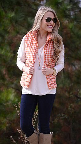Gingham Puffer Vest, Orange