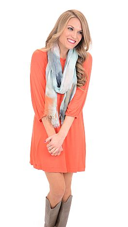 Basic Boatneck Tunic, Coral