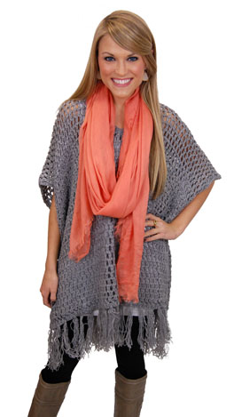 Holded Out Poncho, Charcoal