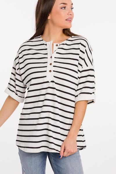 Striped Henley Sweatshirt