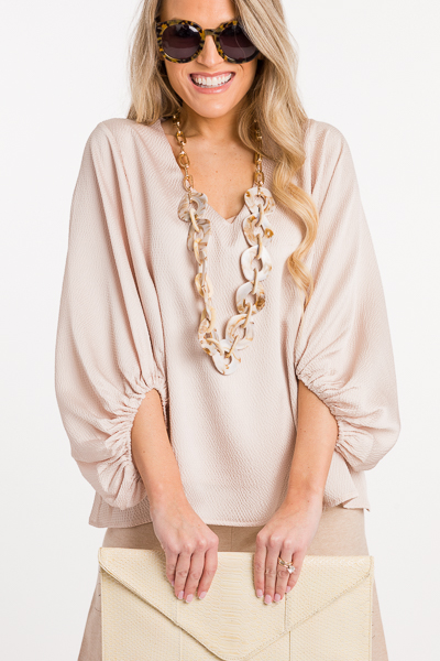Textured Puff Sleeve Top, Champagne