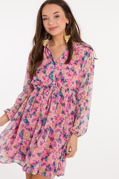 Floral Drawstring Dress, Pink