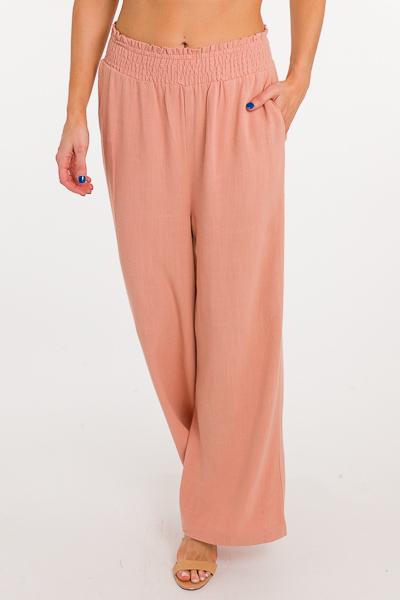 Rosa Linen Pants, Salmon