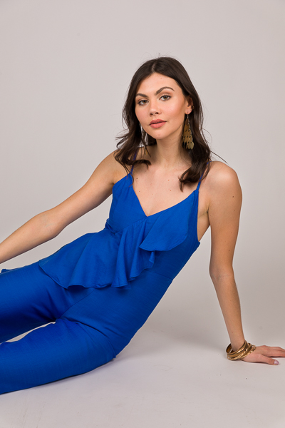 Strappy Ruffle Jumpsuit, Royal