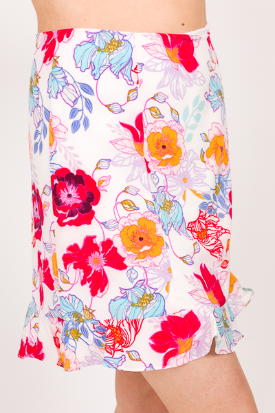 Colorful Flowers Skirt, Ivory