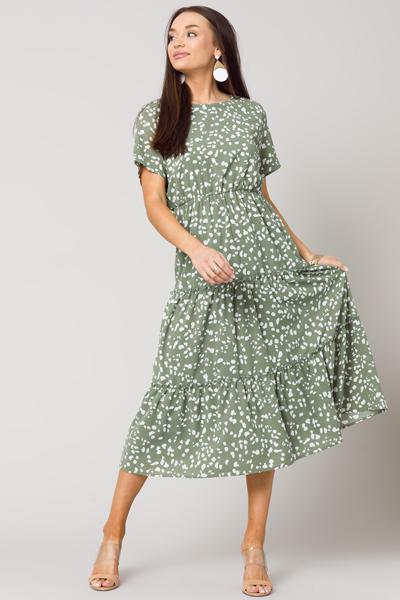 Ink Blots Midi Dress, Sage