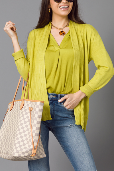 In Line Cardigan, Lime