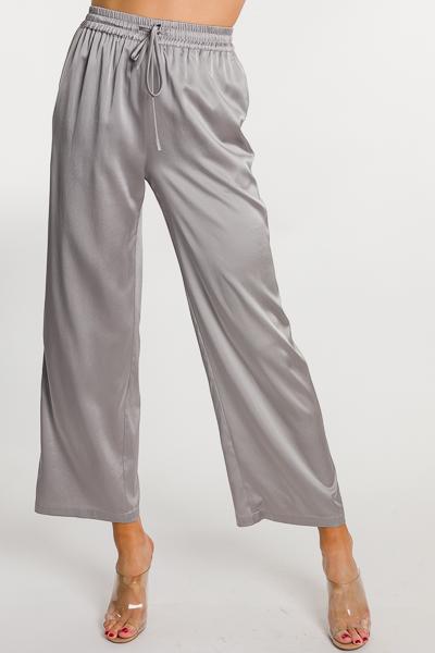 Luxe Silk Pants, Silver