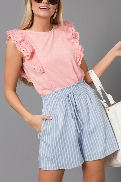 Double Stripe Shorts, Light Blue