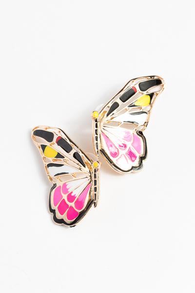 Epoxy Butterfly Earring, Pink