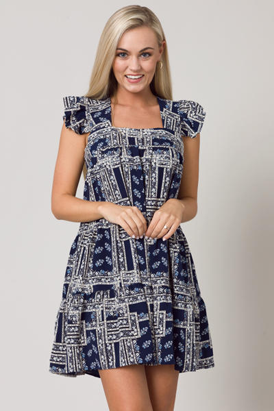 Garden Square Dress, Navy