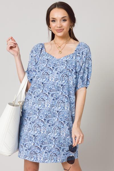Paisley Perfection Dress, Blue