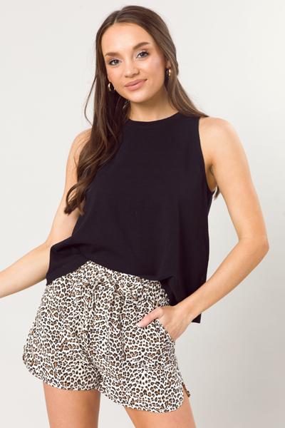 Leopard Linen Shorts, Ivory