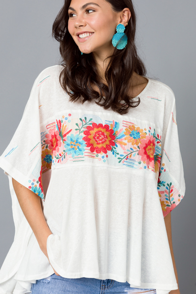 Embroidery Poncho Top, Ivory