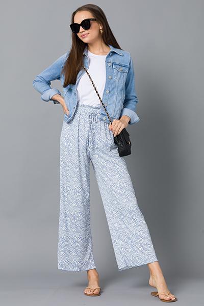 Rib Zebra Pants, Blue