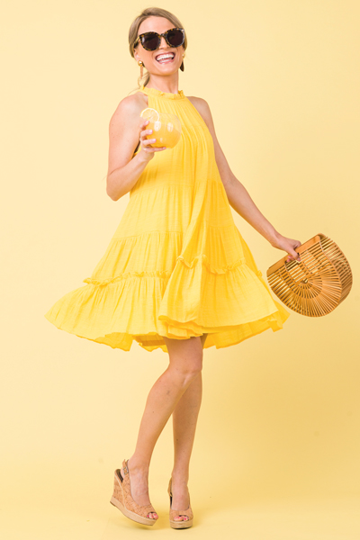 Girly Tiered Dress, Lemon