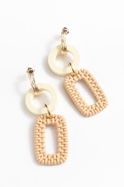 Circle & Rectangle Woven Earrings, Natural