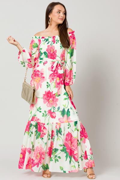 Pink Gardenias Belted Maxi