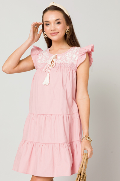 Penelope Embroidery Dress, Pink