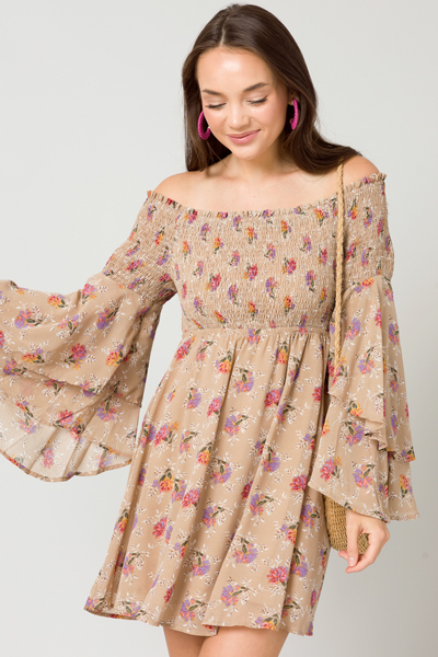 Boho Smock OTS Dress, Beige