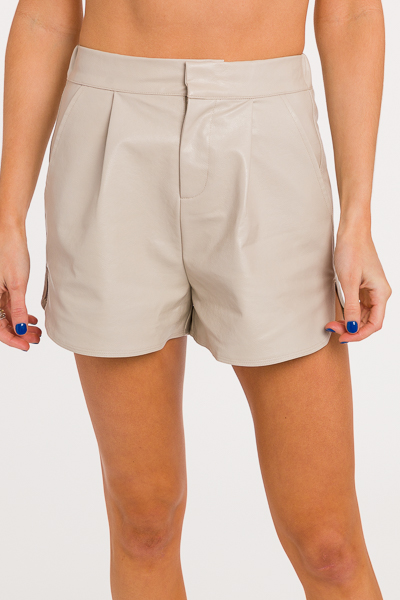 Leah Faux Leather Shorts, Taupe