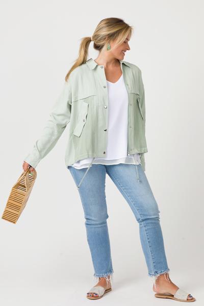Mesh Pockets Jacket, Sage