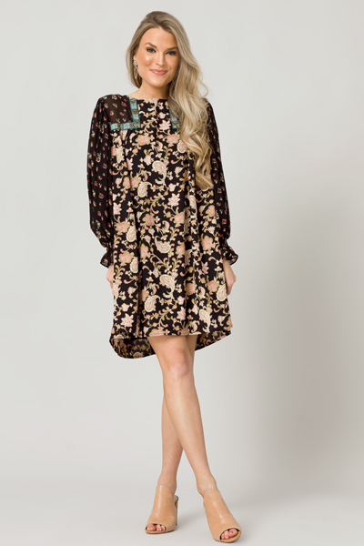 Paisley Mix Dress, Black