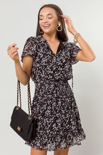 Elaine Printed Smock Dress, Black
