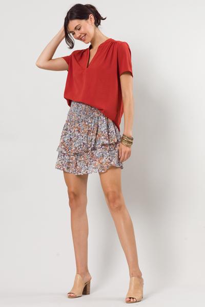Nala Floral Smock Skirt, Blue