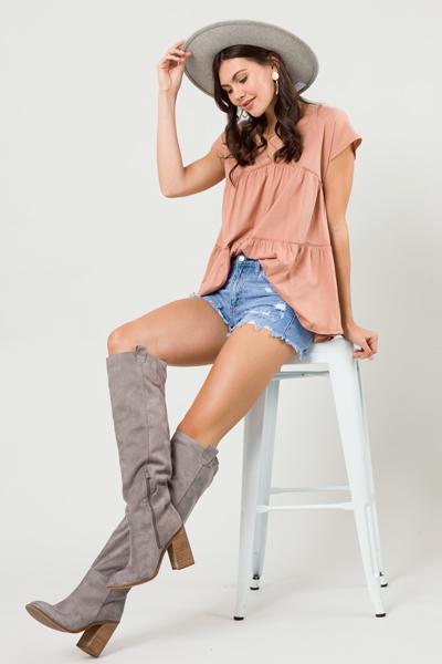 Kendall Babydoll Tunic, Rosewood