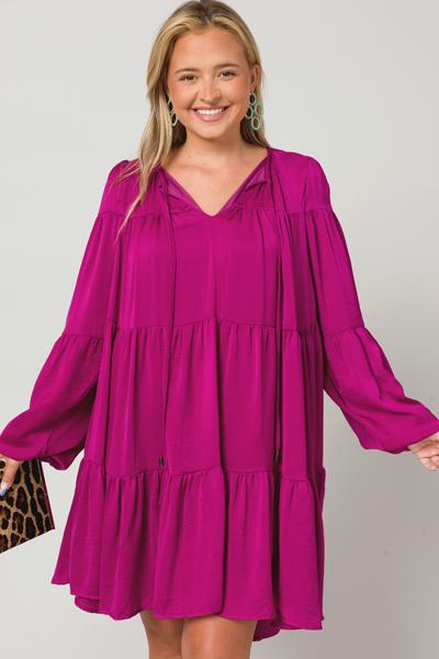 Luxe Long Sleeve Dress, Purple