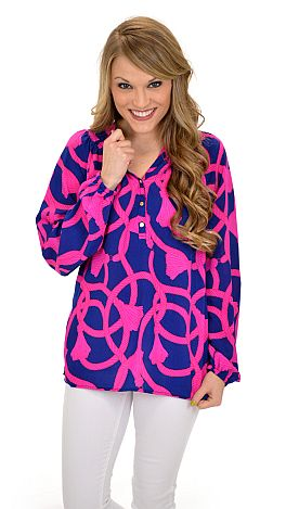 Mary Mac Blouse, Navy Pink Rope