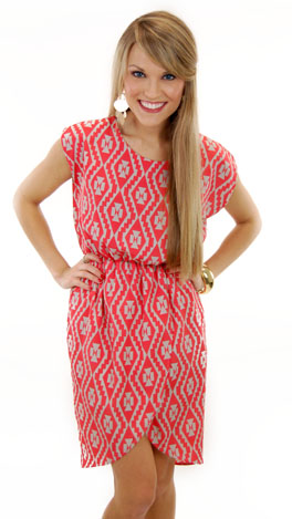 Work or Play Wrap Dress, Coral Red